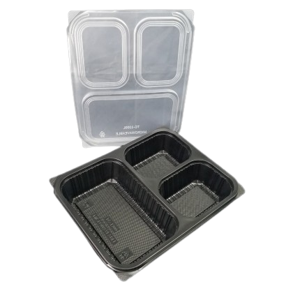 Black 3 Compartment Square Plastic Container With Lids - PACK50/CTN200