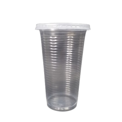 22oz Ripple Surface Cold Plastic Cup With Flat Lids - PACK50/CTN1000 (50PCS X 20PACK)