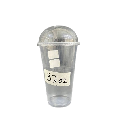 32oz Smooth Surface Plastic Cup With Dome Lids - PACK50/CTN500 (50PCS X 10PACK)