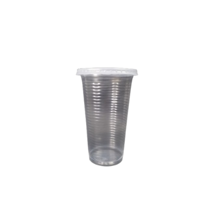 12oz Ripple Surface Disposable Plastic Cup with Flat Lids - PACK100/CTN1000/CTN2000