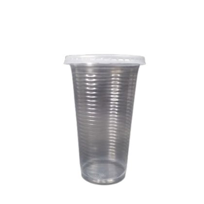 16oz Ripple Surface Cold Plastic Cup with Flat Lids - PACK100/CTN2000 (100PCS X 10PACK)