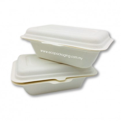 Compostable Eco Friendly White Sugarcane Lunch Box (600ML) - PACK10/PACK50/CTN600/CTN800